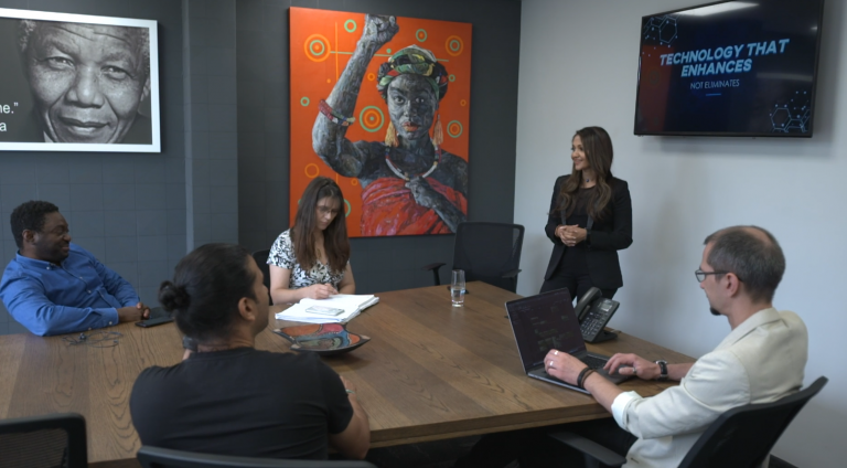 A group of people gathered in a conference room