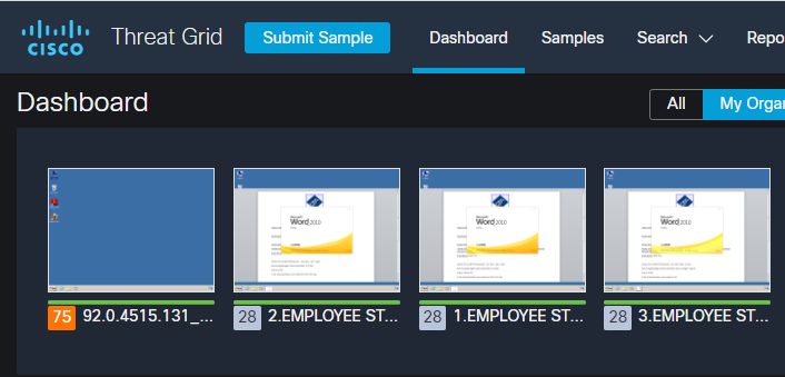 Employee status reports in SecureX Threat Grid view from Black Hat USA NOC 2021