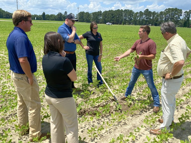 A group of farmers standing in a field with the CEO of Continuum Ag