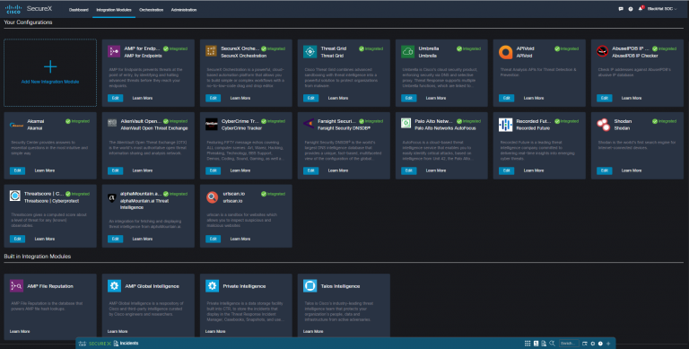 View of SecureX Integrations dashboard