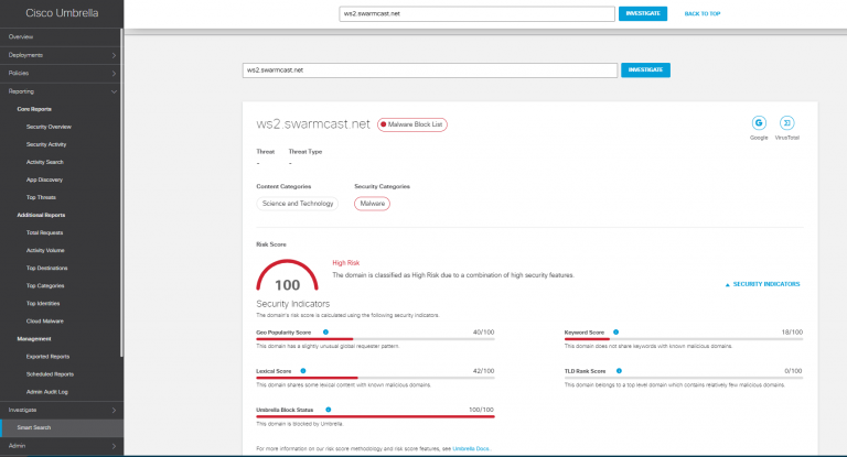 Cisco Umbrella Smart Search view from Black Hat USA NOC 2021