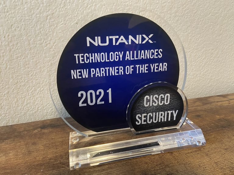 """Photo of """"Nutanix Technology Alliances New Partner of the Year 2021"""" award earned by Cisco Security"""