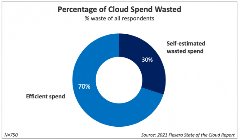 chart showing the percentage of cloud wasted