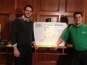 Matthew Brender (EMC) and Hans De Leenheer (Veeam) Talk Big Data with a Rhinocorn.