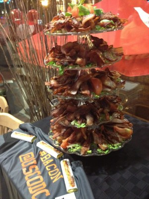 Yes, that is a tower of real bacon at #vBacon.