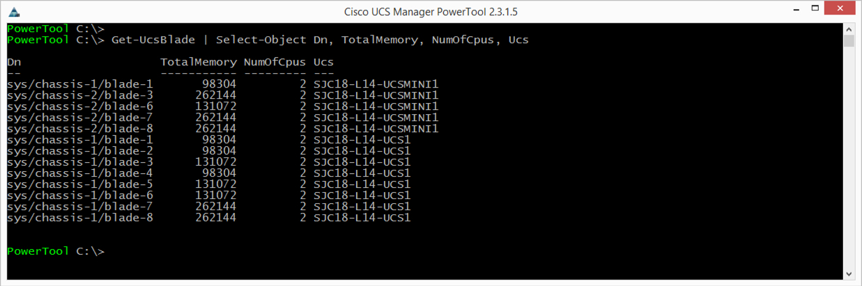Get-UcsBlade | Select-Object Dn, TotalMemory, NumOfCpus, Ucs