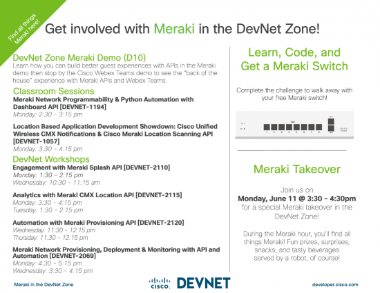 Meraki Sessions and Activities in The DevNet Zone at Cisco Live Orlando