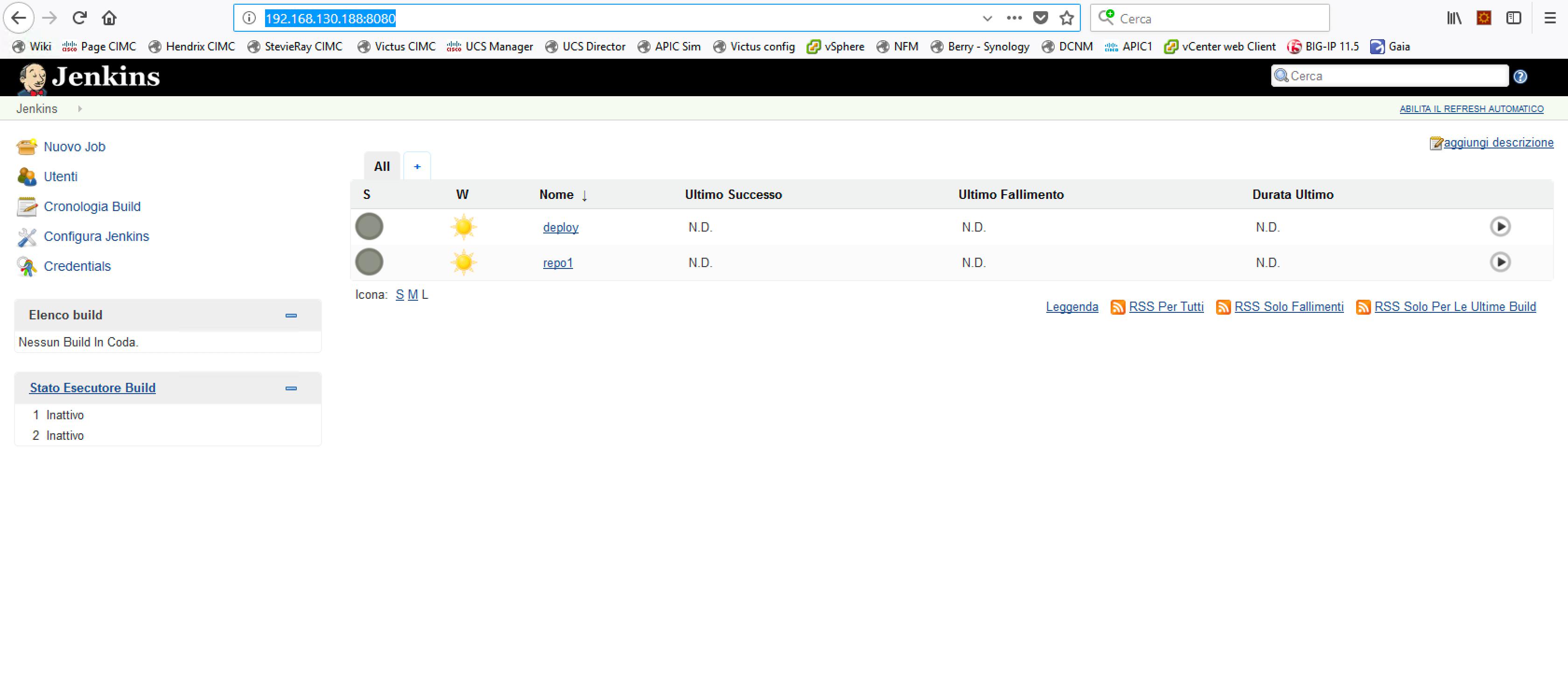 The Jenkins orchestrator and the 2 tasks created by CloudCenter