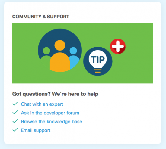Webex Meetings Community and Support screen image