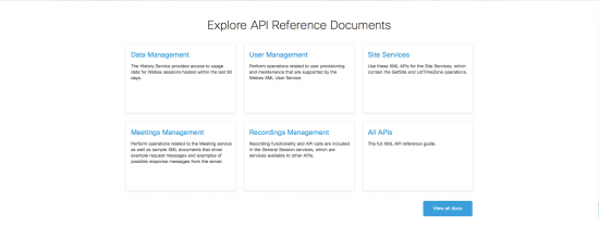 Explore API Reference Documents screen image