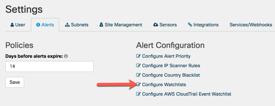 Click Configure Watchlists on the Settings screen