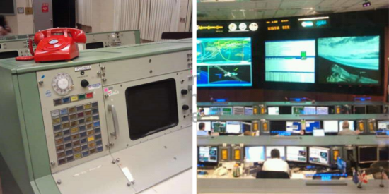 The mission control room at NASA's Johnson Space Center in Houston, Texas.