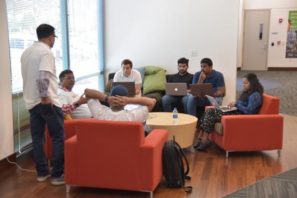 Teams preparing for presentations