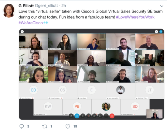 Gerri Elliott's tweet with a screengrab of her meeting with Burcu's team of SE's.