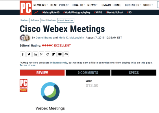 "Webex was named a PC Magazine ""Editor's Choice""."