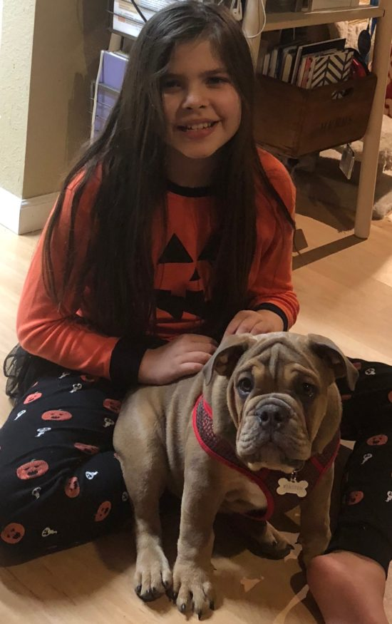 Danielle's daughter Helene sits in Halloween pajamas with their bulldog Winston.