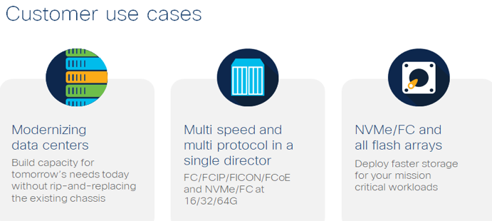 Customer Use cases: Modernizing data centers; Multi speed and multi protocol in single director; NVMe/FC and flash arrays