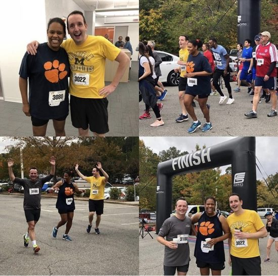 A collage of Jeff and friends at the annual RTP 5k.