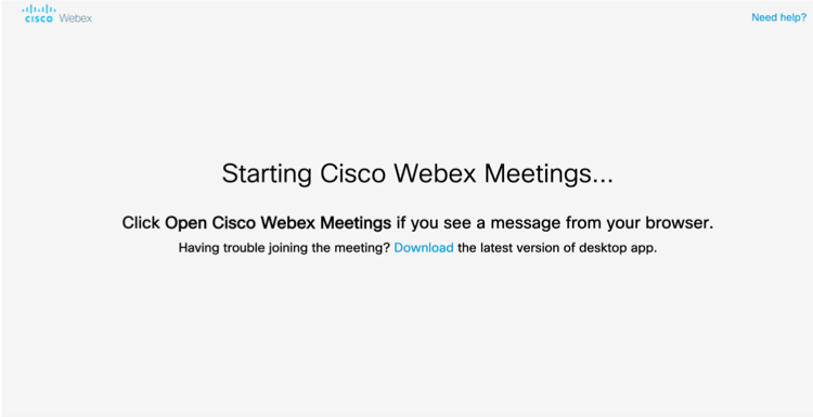 Starting Cisco Webex Meetings