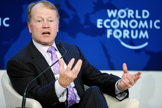Cisco Chairman and CEO John Chambers speaks during the session 'The Global Business Context' at the WEF Annual Meeting in 2012. Photo: World Economic Forum