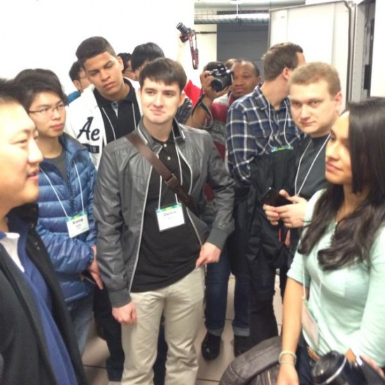 Students from countries like Colombia and Greece listened as Nick explained the configuration of the data center