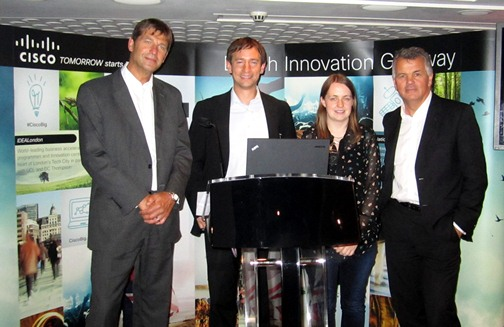 Phil Smith, CEO of Cisco UKI and Tom Kneen, BIG Programme Lead, Cisco with Jenny Griffiths, CEO and Founder of Snap Fashion and Alastair Paterson, CEO of Digital Shadows.
