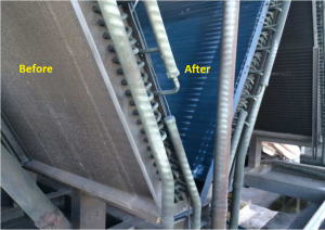 Coil faces showing the completed application of the HVACArmor product on the inside, vs the non-completed existing exterior coil face that will be coated next outside