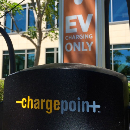 Chargepoint stations can be found in parking lots at different Cisco buildings around the world