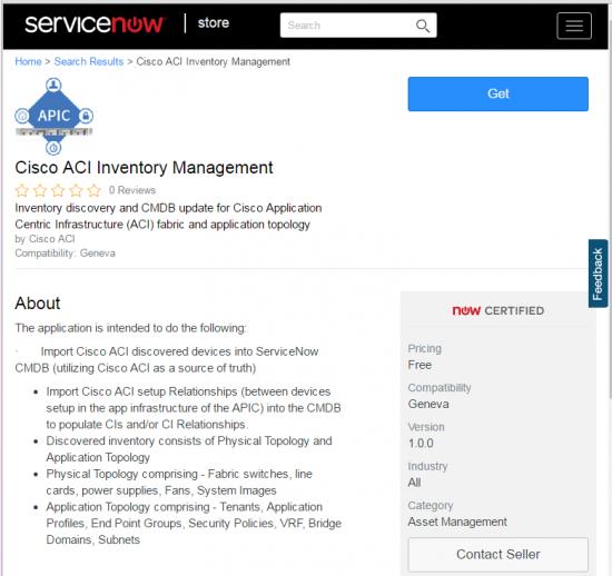 Cisco ACI Image at ServiceNow Store Aug 2016
