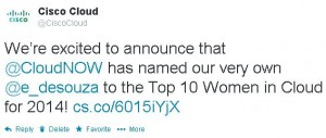 Evelyn de Souza named to CloudNOW Top Women in Cloud Innovation Awards, 2014