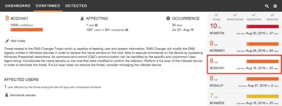 Figure 3 - CTA Threat Specific Information on DNSChanger Malware.