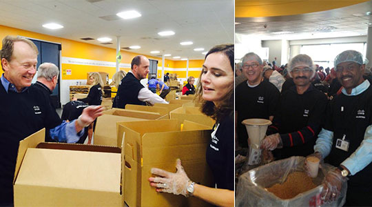 Cisco Chairman and CEO John Chambers (left) was among the many Cisco executives and employee volunteers in San Jose, California, who packaged food as part of the 2013 Global Hunger Relief Campaign