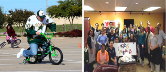 Employees in Richardson and Houston, Texas raised money and packaged meals for hunger relief organizations.
