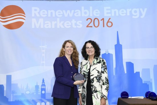 Kathy Mulvany, Vice President of Corporate Affairs, accepting the award from Alexis Strauss, Acting Regional Administrator, U.S. EPA