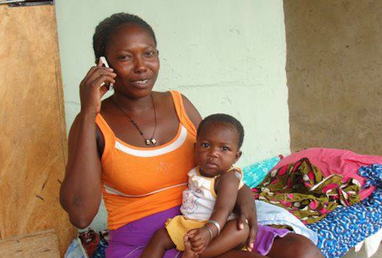 Belinda and her child never fell sick during and after her pregnancy, thanks to messages that she received that told her about proper nutrition and exclusive breastfeeding. Photo courtesy Grameen Foundation