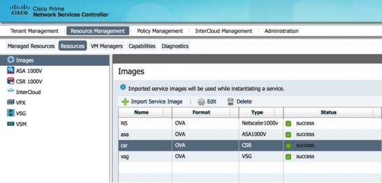 Importing service VM images