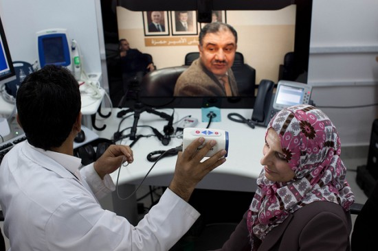 """In Jordan, Cisco """"care-at-a-distance"""" technologies connect patients at two rural hospitals to specialists in Amman, the capital. Traveling to Amman is expensive or prohibitive for many people, but now they can get the specialty care they need through remote consultations."""