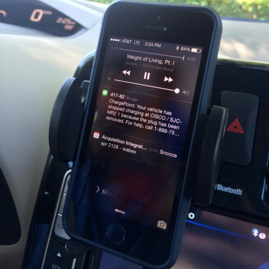 Drivers receive text message alerts on their phones when their car has been unplugged