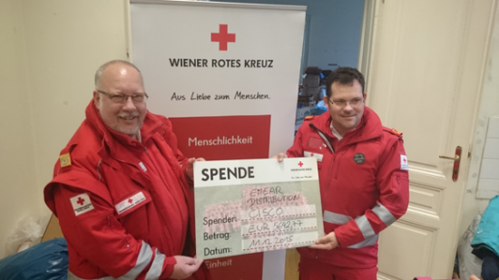 At the Cisco EMEAR Distribution Forum in Vienna in December, 18 bags of clothes were collected and over $6,200 was raised to support two Austrian charities.