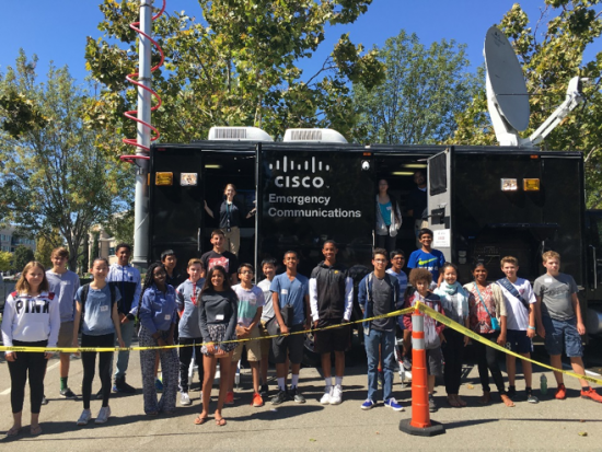 Students in San Jose took tours of the NERV truck to learn first-hand how Cisco's TacOps teams respond in time of crisis during last week's CyberCamp.