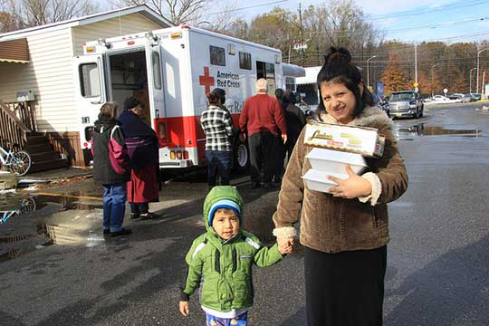 The American Red Cross distributes food in New Jersey