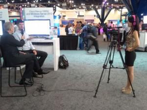 Cisco intern, Renee Yao recording videos from WPC 2013