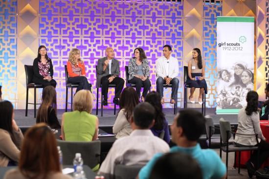 Cisco Senior Executive Panel in San Jose, CA: VP Kim Marcelis, CMO Blair Christie, SVP Randy Pond, CIO Rebecca Jacoby, SVP Guillermo Diaz, and girl scout moderator Rachna Mandalam