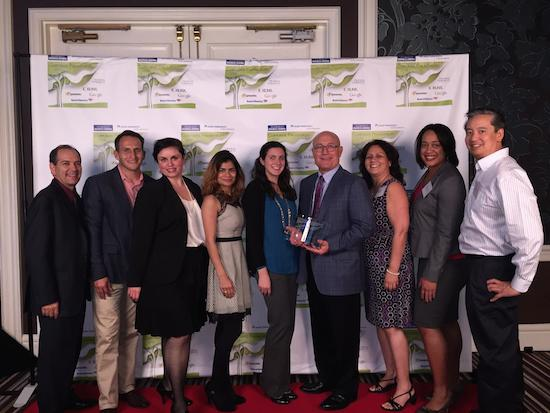Cisco employees, led by Senior Vide President Randy Pond (4th from right) accept the top Silicon Valley Philanthropist Award from the Silicon Valley Business Journal