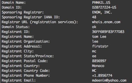 Fake WHOIS record data for phmail.us.