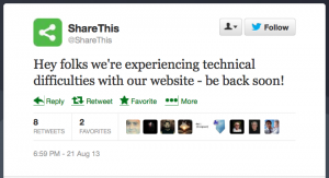 ShareThis goes down Aug 21