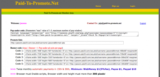 Paid-To-Promote.Net Code