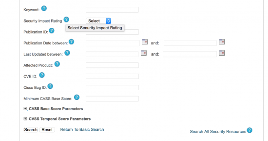 Cisco Security Advisories Advanced Search