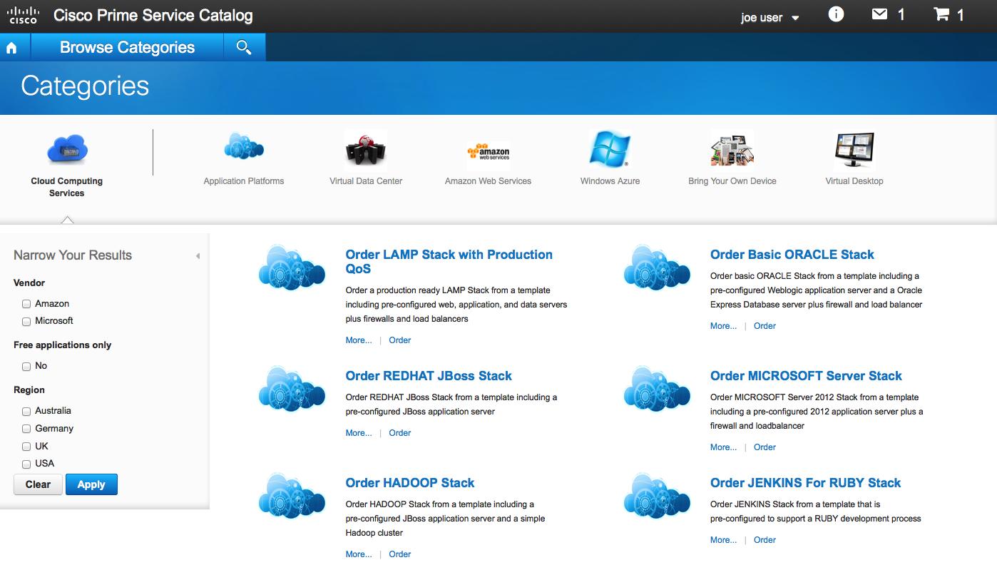 Service Catalog | Cisco Prime Service Catalog