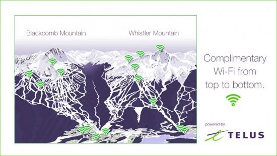 Telus Mountain WiFi at Whistler Blackcomb - Source: http://www.whistlerblackcomb.com/mountain-info/at-your-fingertips